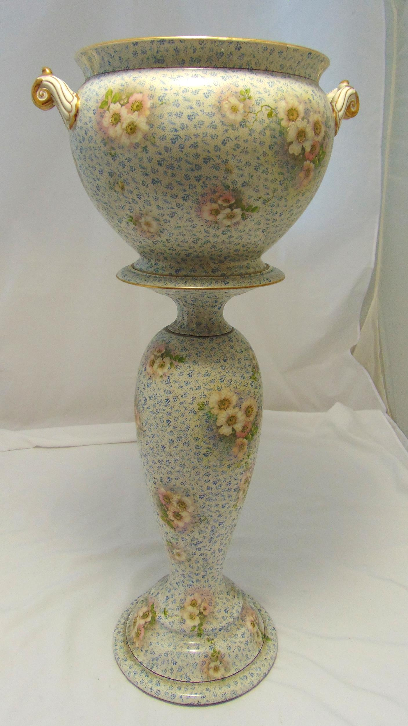 Royal Winton Grimswade early 20th century two handled jardiniŠre and stand decorated with floral