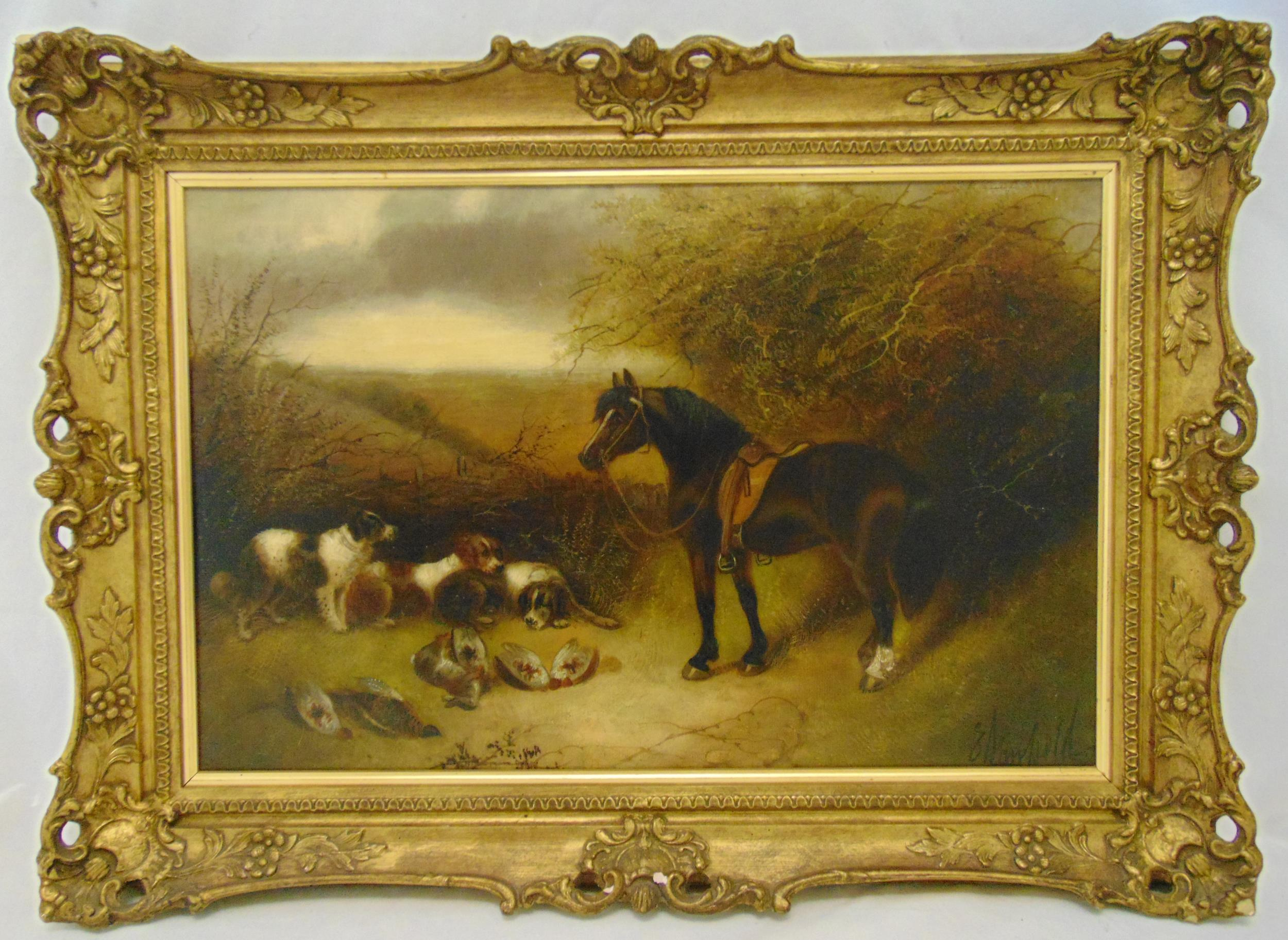 E Armfield framed oil on canvas of a horse and hunting dogs with the catch, signed bottom right,