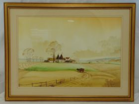 N. Whitehead framed and glazed watercolour of a farm and fields, signed bottom right, 45 x 66cm
