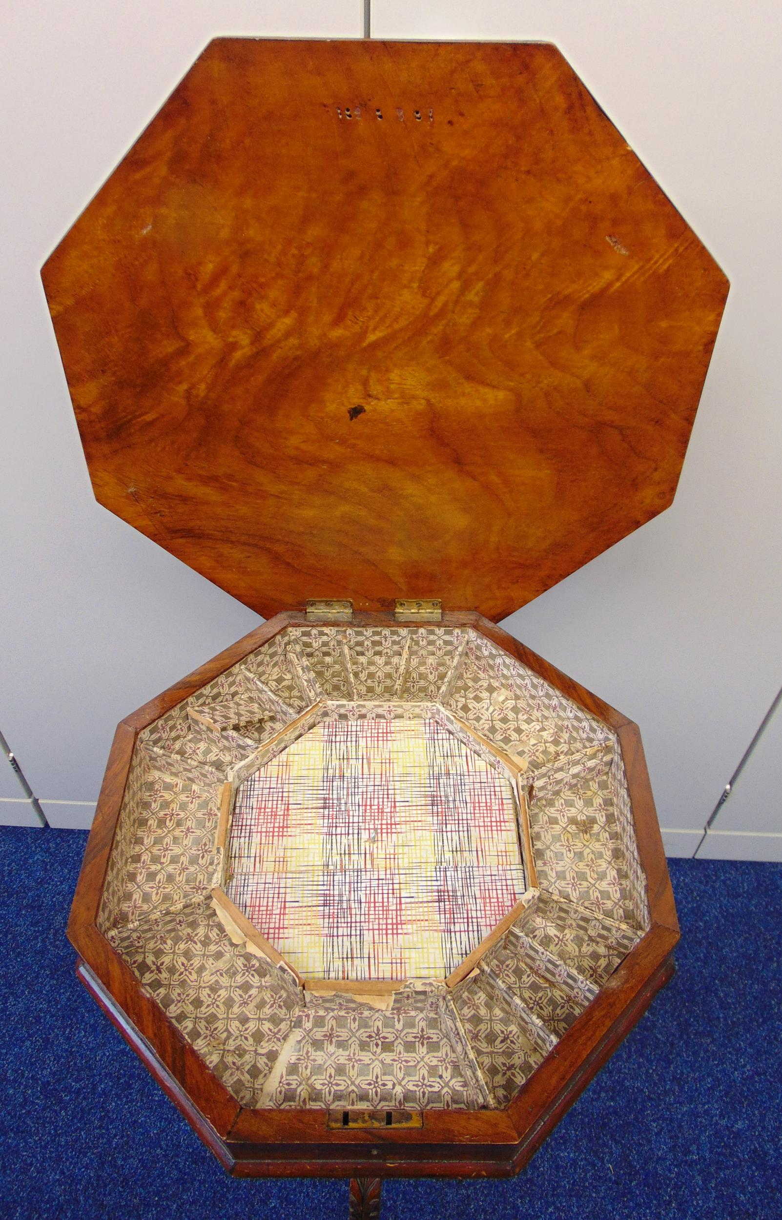A Victorian octagonal mahogany and satinwood sewing table, the hinged cover revealing a fitted - Image 2 of 2