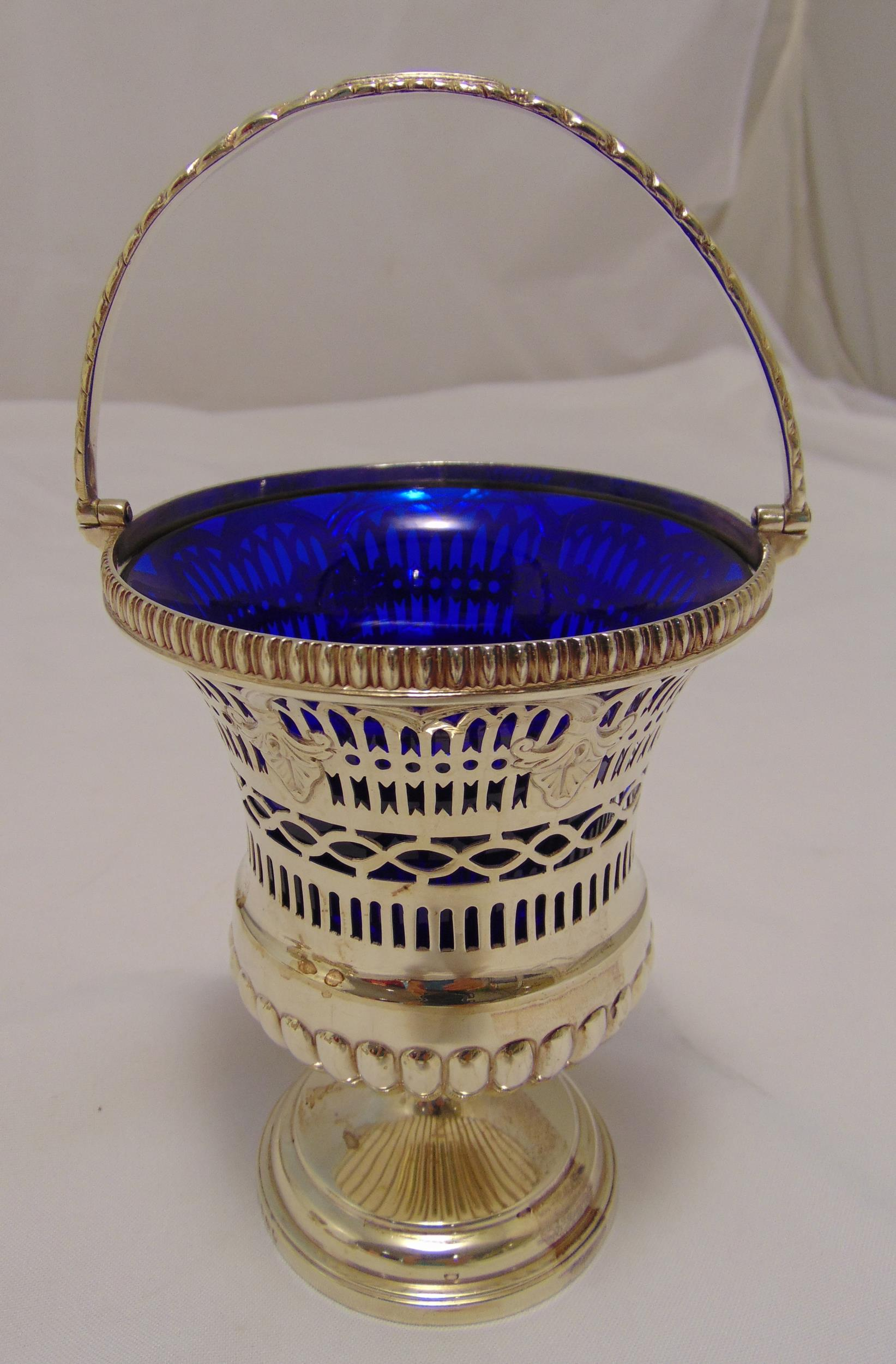 George III hallmarked silver sugar bowl of campagna form with bar pierced sides, gadrooned border