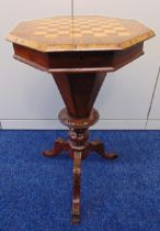 A Victorian octagonal mahogany and satinwood sewing table, the hinged cover revealing a fitted