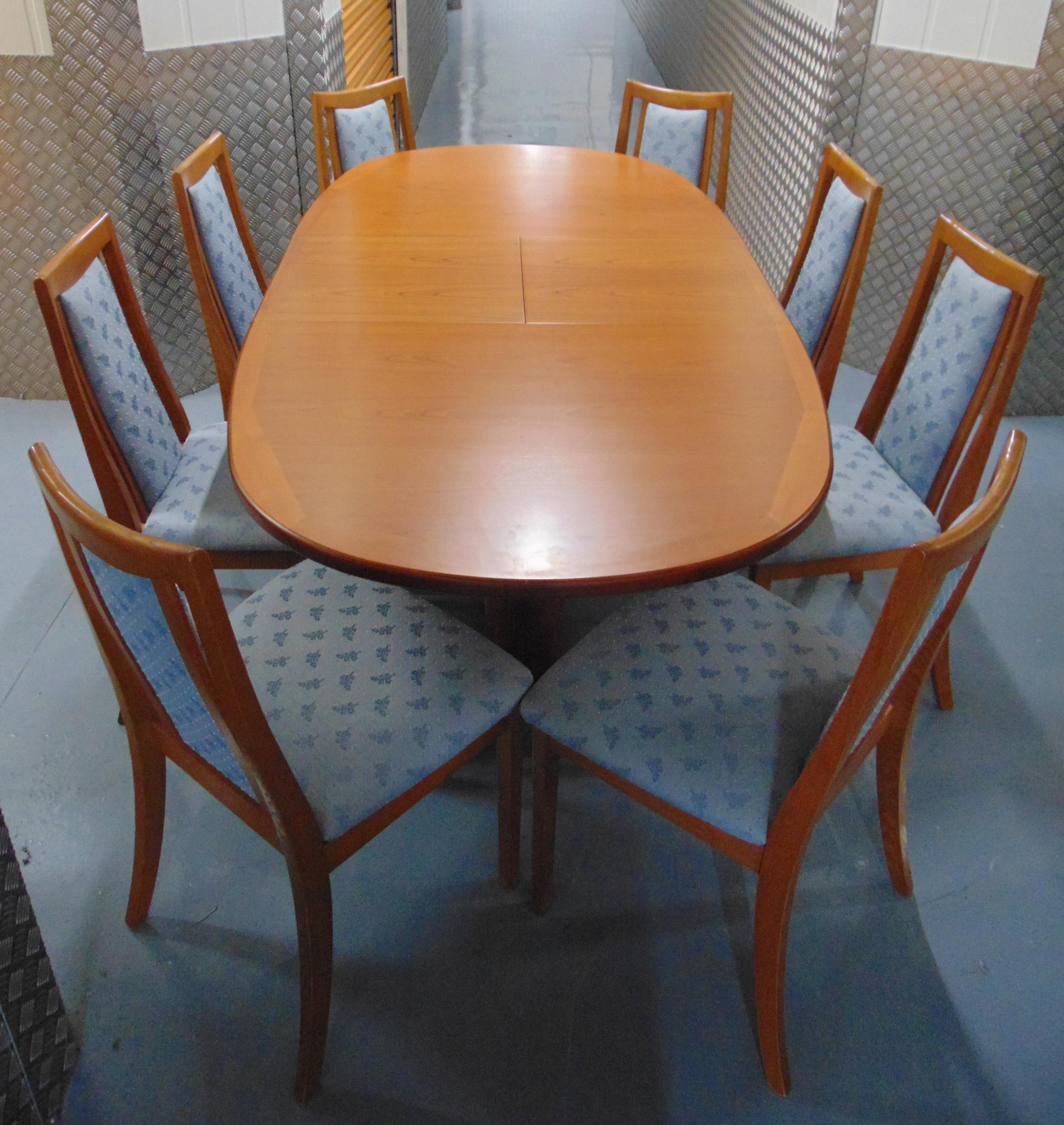 G-Plan extending oval teak dining table circa 1970 and eight matching dining chairs with upholstered - Image 2 of 2