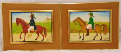 Jacques-Richard Chery two framed oils on panel of military officers on horseback in the naive style,