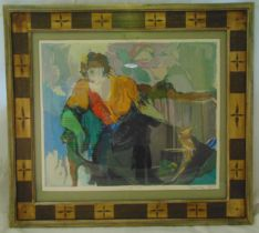 Isaac Tarkay framed and glazed polychromatic lithograph of a female figure titled Lady in Armchair