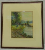 Fay Glazebrook framed and glazed watercolour of a young girl in a field, signed bottom left, 23