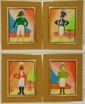 Jacques-Richard Chery four framed oils on panel of military officers in the naive style, signed