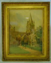 F P Barraud framed and glazed watercolour of a church with cloisters, signed bottom left, 70 x 53cm