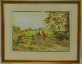Roy Lutner framed and glazed watercolour of a horse and foal by a gate, signed bottom right, 27.5