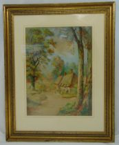 Maude Angell framed and glazed watercolour of a country cottage, signed bottom right, 55 x41cm