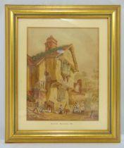 William Mulready RA framed and glazed watercolour of a farmhouse, signed bottom left, 29.5x 23cm