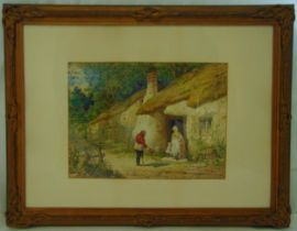 Henry Hobson framed and glazed watercolour titled The Beggar, figures outside a country cottage,