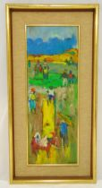 Gesner Armand framed oil on panel of a country scene, signed bottom right, 80 x 29cm, ARR applies