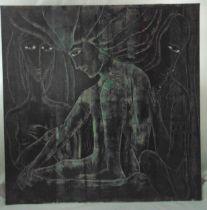 Yeffe Kimball oil on canvas of seated figures in the abstract form, signed bottom right, 96 x 96cm