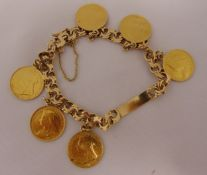 14ct yellow gold charm bracelet with six 1896 half sovereign pendants, approx total weight 46.0g