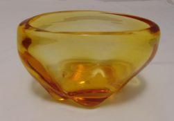 Whitefriars oval orange glass vase, 13.5 x 21cm