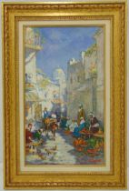 Valéry Sekert framed oil on panel of a street market, signed bottom right, 40 x 22.5cm ARR applies