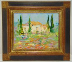 Frank Turc framed oil on canvas titled Le Mas de Provence, signed bottom right, details to verso, 33