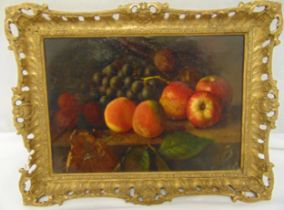GW Harris R.A. oil on canvas still life of fruit, signed bottom right, 25.5 x 35.5cm