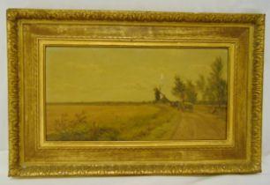 J Hayllar framed oil on canvas titled A Norfolk Lane, signed bottom left, damage to canvas, 28 x
