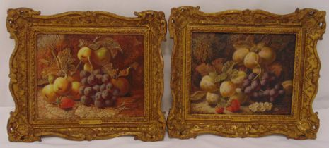 Oliver Clare a pair of framed oil on panel still life of fruits, signed bottom right, 19 x 23.5cm