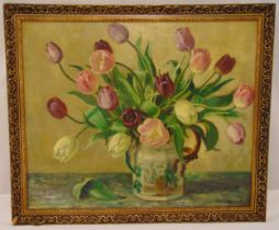 Florence Fieldhouse framed oil on canvas still life of flowers, signed bottom right, 50 x 60cm