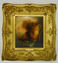 A framed oil on panel of a landscape with sheep in the foreground in the manner of Salvator Roza,