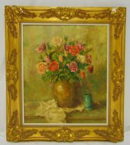 G Cleyman framed oil on canvas still life of roses, signed bottom right, 70 x 60cm