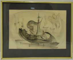 Zoltan Perlmutter framed and glazed charcoal drawing of a sailing boat, signed bottom right, 36 x