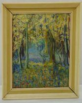 Rene Temple framed oil on panel titled The Bluebell Woods, signed bottom right, 45 x 34.5cm