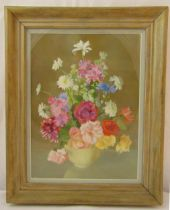 Moyra Barry framed and glazed oil on canvas still life titled Family Garden, signed bottom right,