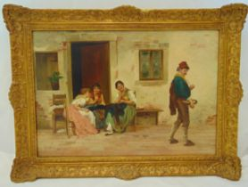 F Werner framed oil on panel of figures in a courtyard, signed bottom left, 47.5 x 68.5cm