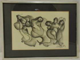 Zoltan Perlmutter framed and glazed charcoal drawing of figures, signed bottom right, 37 x 53cm