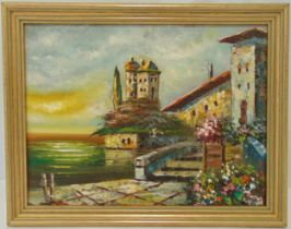 Omer framed oil on canvas of a continental waterside house and garden, signed bottom left, 31 x