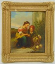 A framed late 19th century continental oil on canvas of a fruit seller, 30.5 x 25cm
