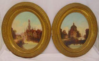 A pair of framed oval oil on canvas Dutch cityscapes circa 1800, 53 x 42.5cm