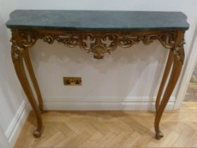 A shaped rectangular consol table, the green marble top supported by four cabriole legs, 88.5 x