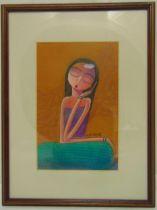 Goh Lye Hock framed and glazed watercolour of a girl, signed bottom left, 25 x 16cm