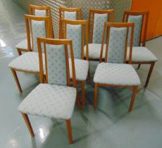 G-Plan eight teak dining chairs with upholstered seats