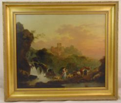Philippe-Jacques de Loutherbourg framed oil on canvas of figures by a river with a castle in the