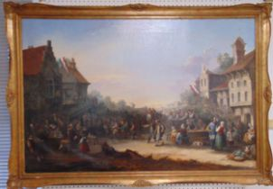 Andrew Wilson framed oil on canvas titled A Village Gathering, to include documentation, 137 x 91cm