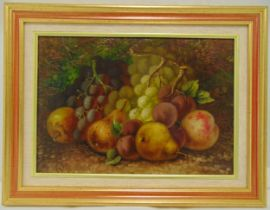 W Vincent oil on canvas still life of fruit, signed bottom left, 26 x 36cm
