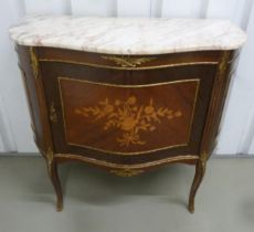 A French style Kingswood shaped rectangular inlaid cabinet with shaped marble top and gilded metal