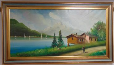 A framed oil on canvas of a Swiss lake and mountain scene with a cottage and road in the foreground,