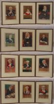Ralph Sallon twelve framed and glazed polychromatic lithographic prints, caricatures of judges
