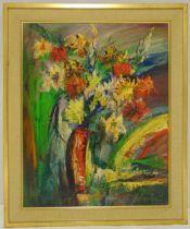 Zoltan Perlmutter framed oil on panel still life of flowers, signed bottom right, 62.5 x 50cm ARR