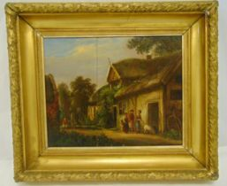 A framed late 19th century oil on panel of figures by a farmhouse A/F, 39.5 x 49cm
