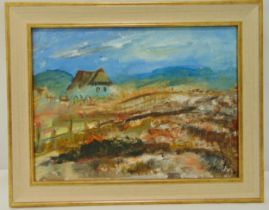 Simion Muntean framed oil on canvas titled House on the Hill, signed bottom right, 30 x 40cm