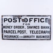 A Vintage black and white enamel Post Office advertising sign, 33cm x 66cm