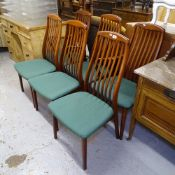 A set of 6 Danish teak dining chairs, by Preben Schou, circa 1989 (4 and 2), label to the